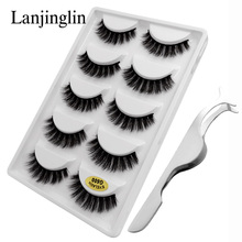 LANJINGLIN 1 kit eyelashes tweezers natural 3d mink lashes hand made makeup long false eyelash extension wholesale fake lash