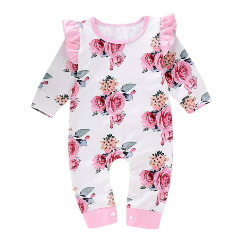 Pudcoco  0-18M Newborn Infant Baby Girls Floral Cotton Long Sleeve Romper Jumpsuit Clothes Outfits