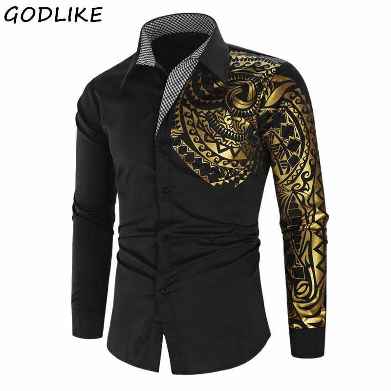 Mens Club Prom Shirt 2020 Luxury Gold Black Shirt Men New Slim Fit Long Sleeve Camisa Masculina Gold Black Chemise Homme Social