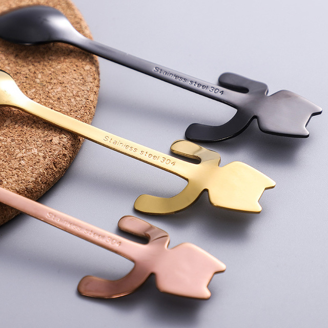 Stainless steel cat coffee spoon 2