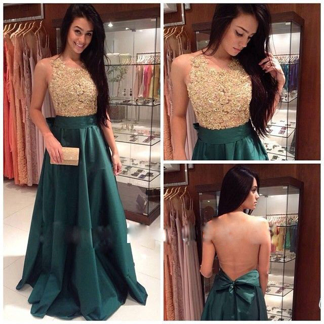 2018 Gorgeously Evening Gown Sheer Round Neck Sleeveless Sheer Back Appliques Prom Robe De Soiree Mother Of The Bride Dresses