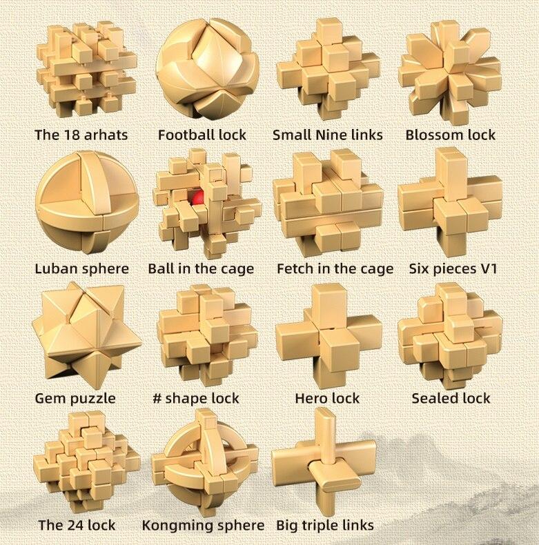 New Design Qiyi Magic IQ Brain Teaser Kong Ming Lock 3D ABS Plastic Interlocking Burr Puzzles Game Toy Bamboo For Adults Kids