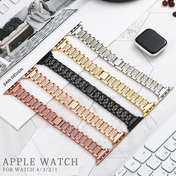 цена на Stainless Steel Metal Strap for Apple Watch band 44mm 42mm 40mm 38mm Diamond Strap for iwatch 5 4 3 2 1 watch Accessories