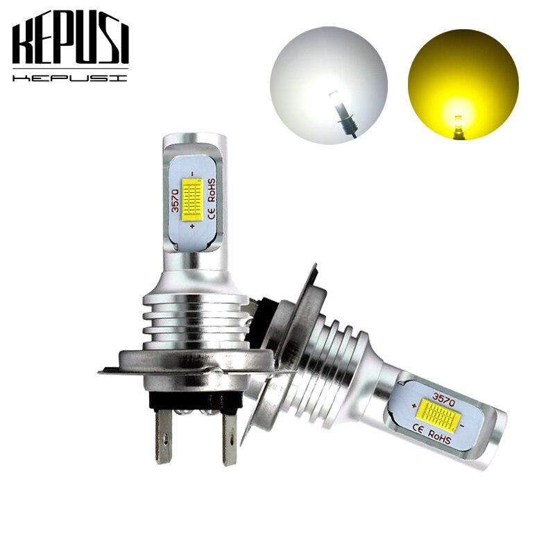 2x H7 LED Bulb CSP Chip 72w Car Fog Lights 12V 24V White Yellow Motor Truck DRL Driving Day Running Light Auto Led H7 Bulb