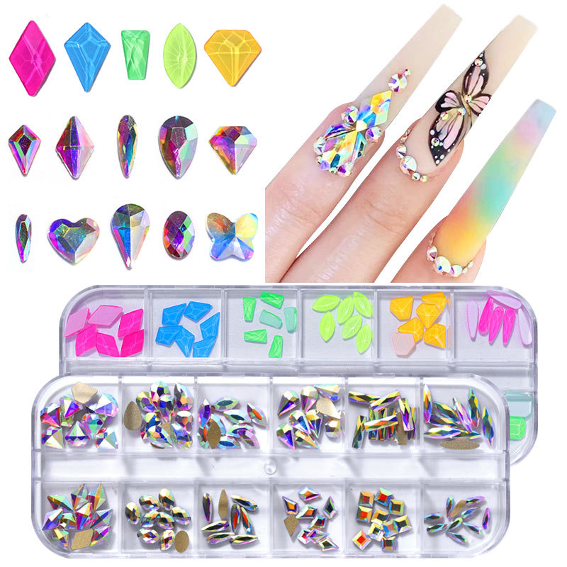 1.4mm-10mm AB Acrylic Diamond Nail Glitter Nail Rhinestones Crystal DIY Nail Art Decorations Manicure Tools Accessories
