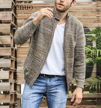 Casual Men's Sweater Thick For 2020 Winter Autumn Polyester Male Cardigan Stand Collar Plus Size M- XXL XXXL