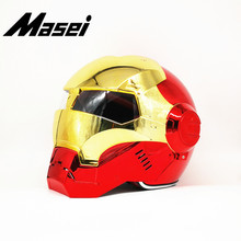 Masei Iron Man helmet motorcycle Vintage Retro open face casque Motocross Off Road Touring Electroplate Red