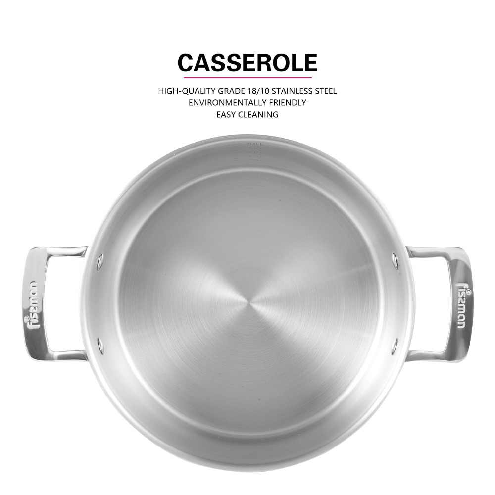 FOBUS シリーズキャセロールとガラス蓋誘導ステンレス鋼スープ鍋