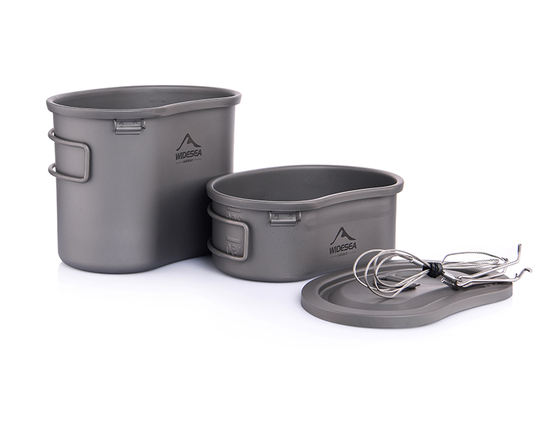 Titanium Canteen Camping Tableware Outdoor Cookware Army Pot Pan Picnic Set Hiking Tourist Kichen Cooking Mess Kit