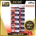 YCDC 10 stück 3 V Volt CR2025 Batterie Lithium Li-Ion-Button Münze Zellen 208-205 BR2025-1W CR2025-1W LM2025 5003LC ST-T14 LF1/2V