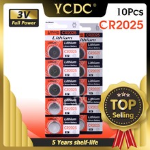 YCDC 10 pièces 3 V Volt CR2025 batterie Lithium Li-ion bouton piles 208-205 BR2025-1W CR2025-1W LM2025 5003LC ST-T14 LF1/2V