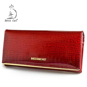 Beth Cat Women Wallet and Purses Genuine Leather Female Coin Card Holder Purse Ladies Money Bags Alligator Cow Wallets 1