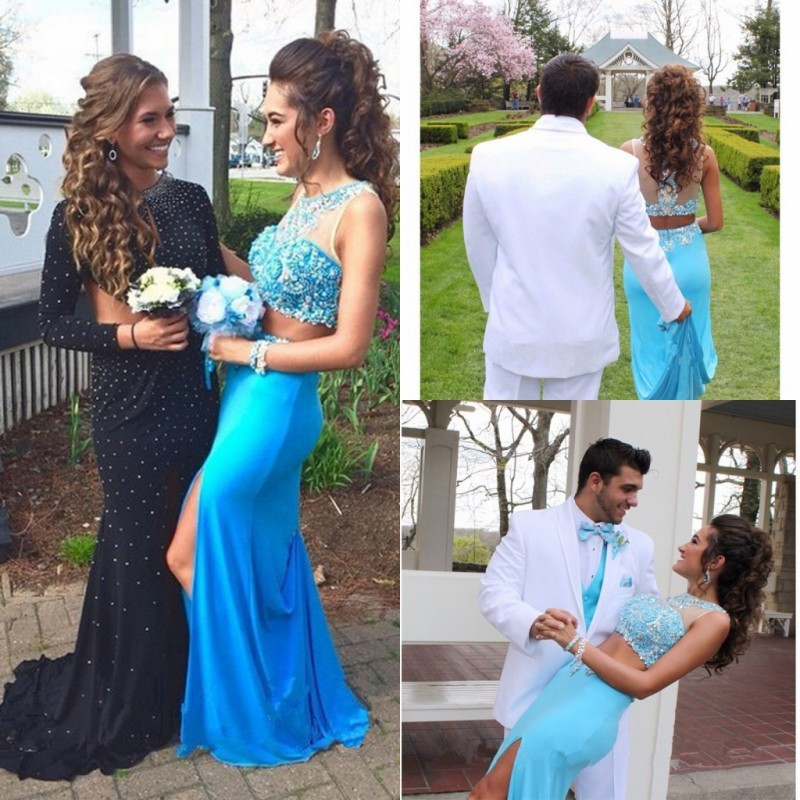 Two Piece Prom Elegant Backless Floor Length Crystal Beaded Formal Gown Sexy Side Split 2018 Robe De Soiree Bridesmaid Dresses