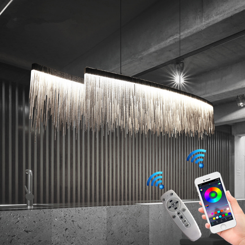 Remote Modern Three Grades Lamp Intensity Tassel Chandelier Nordic Restaurant Luxury Hotel Engineering Chain Living Lighting