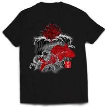 Koi Fisch Kioto Tokyo Japan Welle gedruckt T-shirt