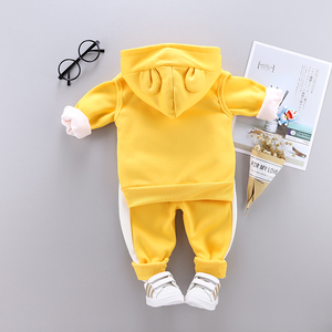 Image 3 - 3 sztuk dziecko dzieci odzież zimowa zestaw słodki kociak noworodka gruba ciepła bawełna ocieplane ubrania dla chłopców dziewcząt kamizelka z kapturem + topy + spodnie