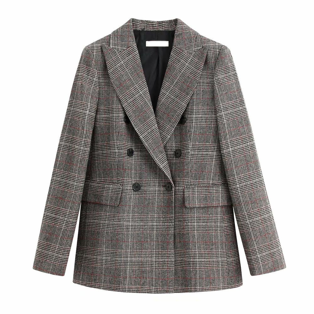 New Women Warm Fabric Tweed Plaid Double-Breasted Suits 2020 Ladies Fashion Lapel One-piece Suit Top
