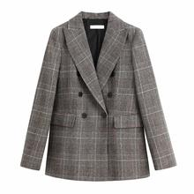 New women Warm Fabric Tweed Plaid Double-Breasted Suits 2020 Ladies Fashion Lape