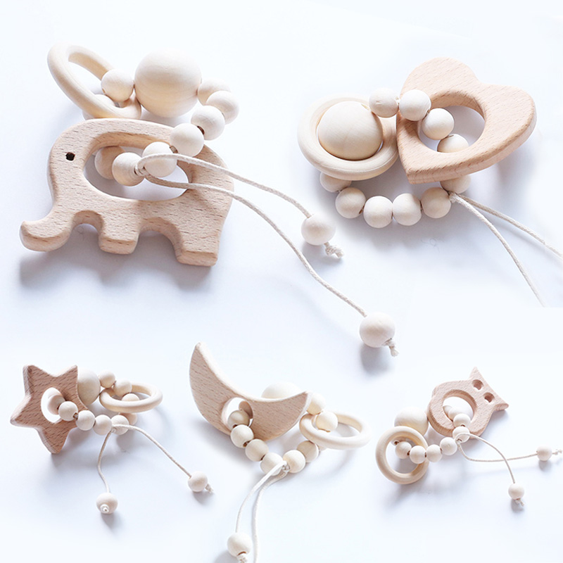 Wooden Teether Baby Bracelet Animal Shaped Jewelry Teething For Organic Wood Beads Baby Rattle Stroller Accessories Toy