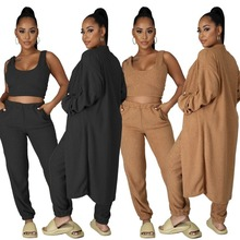Spring Two-Piece-Sets Sweatpant Jogger Crop-Top Streetwear Long-Sleeve Casual Black/brown
