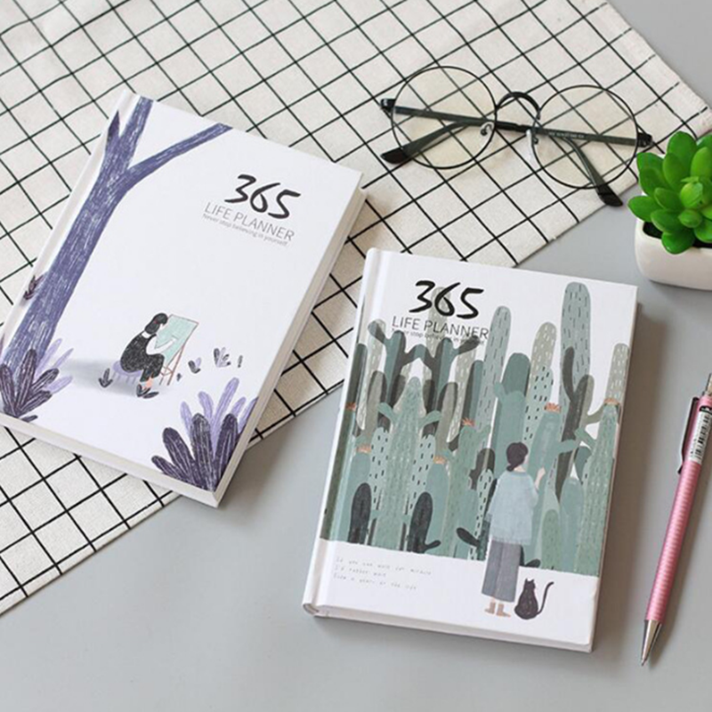 New A6 Simple And Fresh 365 Hand Account Notebook Schedule This Hardcover Color Page Notebooks 114 Sheets Office School Planner