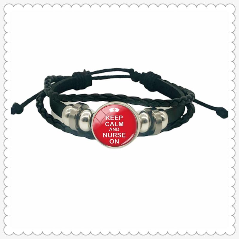 Best selling nurse doctor ECG silhouette column pattern leather bracelet classic fashion men and women bracelet gift jewelry