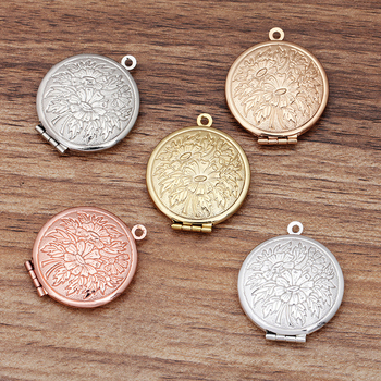 5pcs 27mm Locket Pendant Charm Vintage Copper Round Shape Flowers Carved Photo Accessories for Jewelry Making DIY