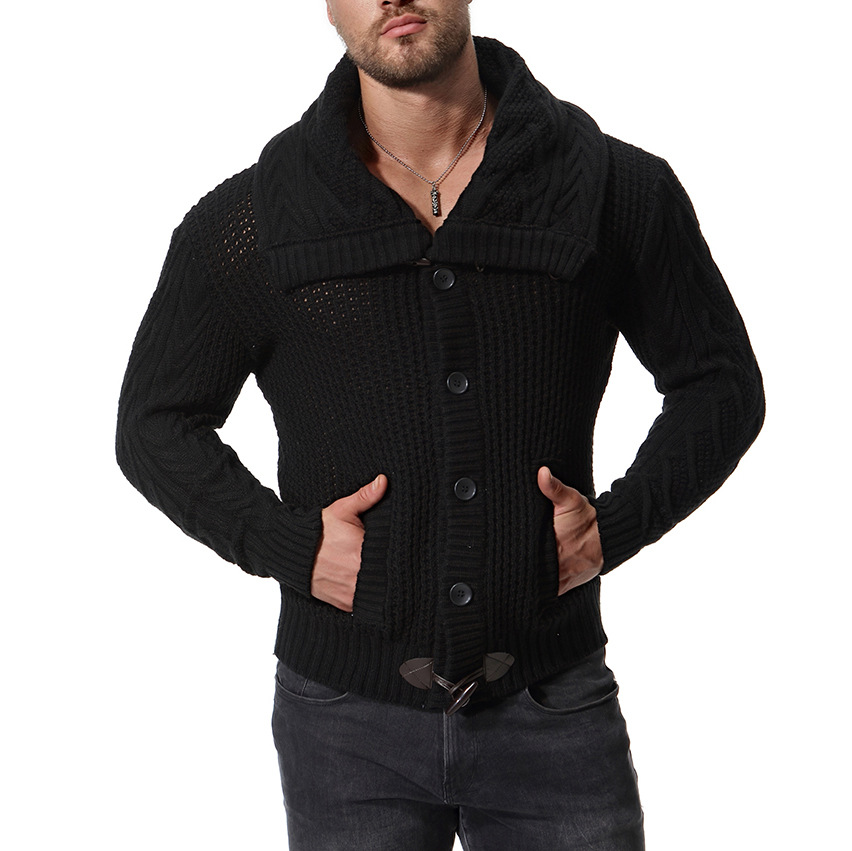 Men Slim Fit Jumpers Knit Zipper Warm Winter Business Style Men Sweater