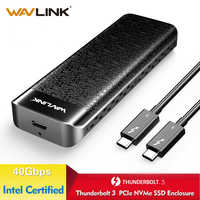 Wavlink USB C Thunderbolt 3 NVME External SSD Enclosure Aluminum Type-C NVMe connector Excellent Dissipation Intel Certified