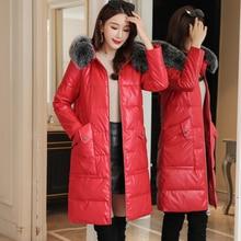 Women Down Coats Korean Fashion Fur Hooded PU Leather Jacket Plus Size Woman Winter
