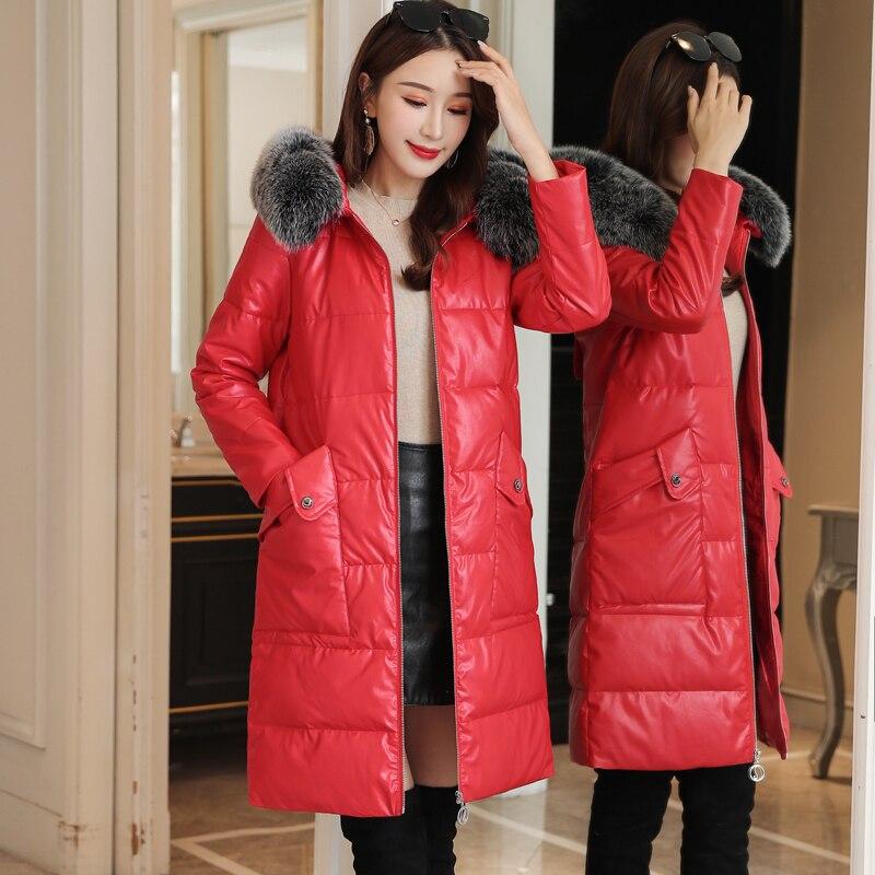 Women   Down     Coats   Korean Fashion Fur Hooded PU Leather   Down   Jacket Plus Size   Down   Jacket Woman Hooded Winter   Down   Jacket Women
