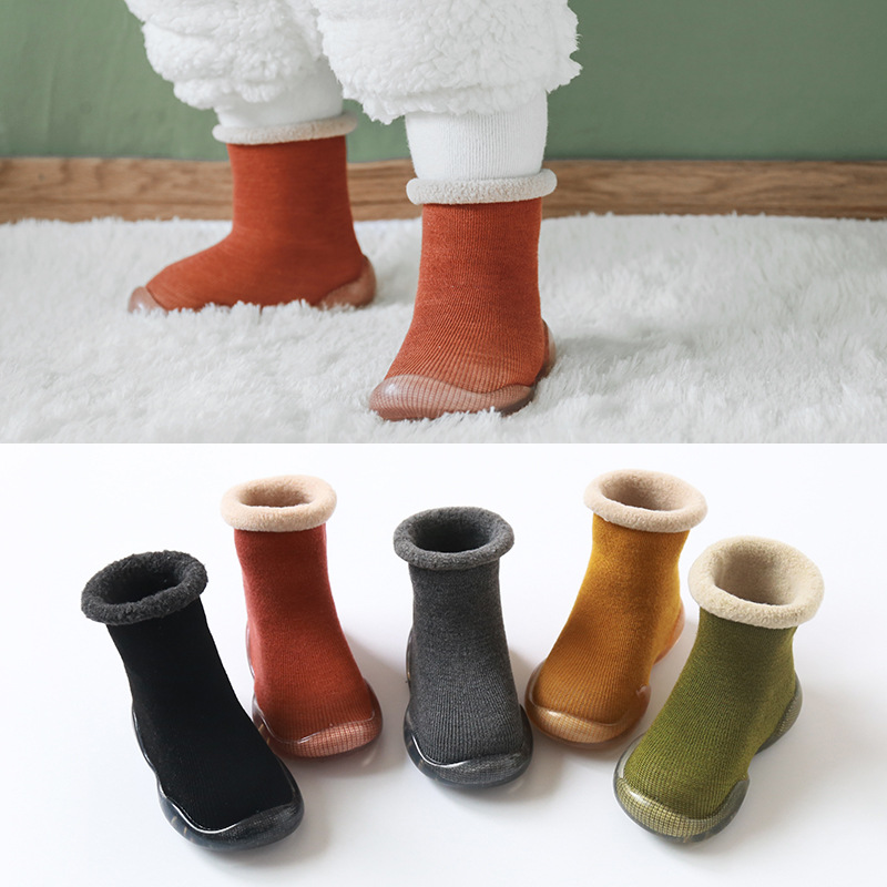 New Children Antisilp Sock Shoes Solid Color Imitation Cashmere Baby Toddler Floor Shoes Non-slip Warm Rubber Soles Booties