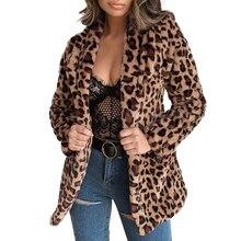 Winter Coat Women Leopard Print Faux Fur Coat Single Breasted Fur Jacket Fashion Casual Slim Coat Female Mid-Long Fur Jacket D25 faux fur double breasted coat