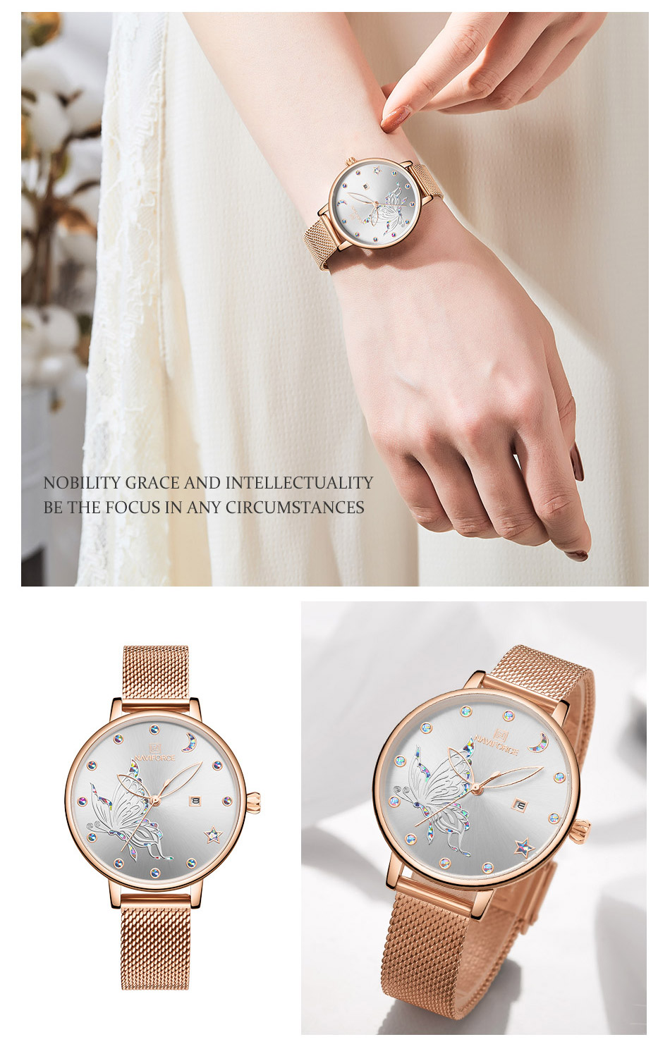 H966a18aeab69458d979fccfccfaf4b01X - NAVIFORCE Luxury Brand Watch Women Fashion Dress Quartz Ladies Mesh Stainless Steel 3ATM Waterproof Casual Watches for Girl