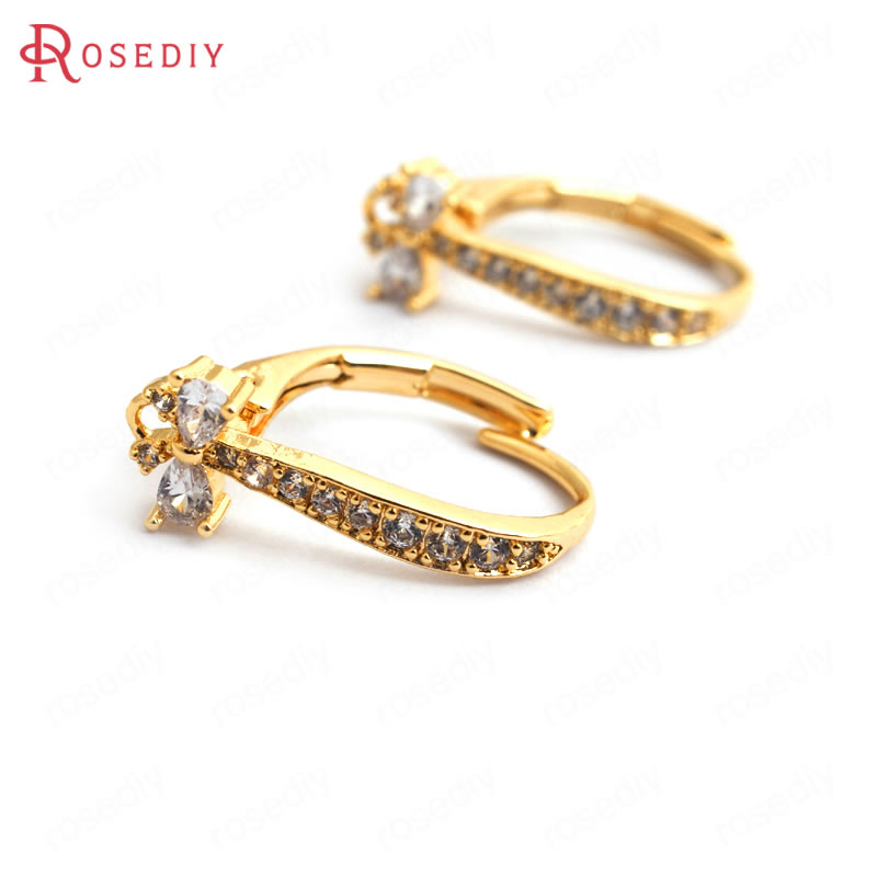 34944 4PCS 15MM Quality Gold Color Brass with Zircon Drop Shape Earrings Hooks