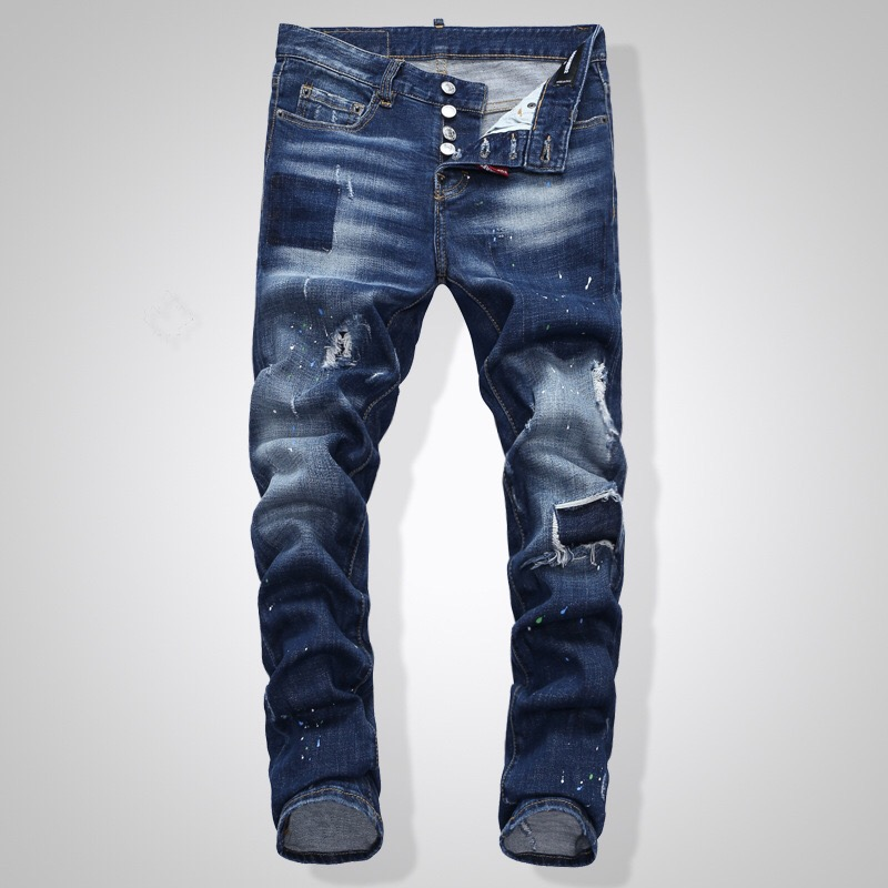 DSQ NEW Men Jeans Ripped For Men Skinny DSQ Jeans Pants Men Jeans  Button Outwear Man Pants