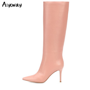 Новые модные женские розовые сапоги до колена с острым носком, высокие сапоги-трубы, женская зимняя белая обувь, милые красные сапоги без за...