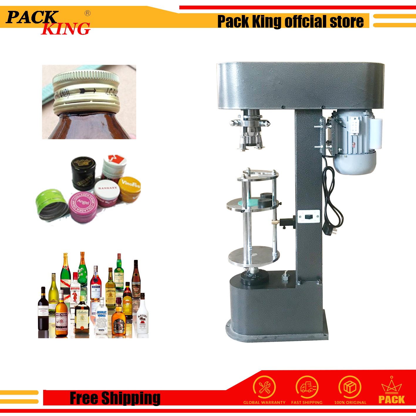 White Wine Bottle Cap Capping Machine Olive Oil Whisky Lid Cover Locking Pressing Aluminum Metal Lid Capper Metal Caps Sealer