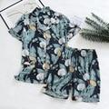 Летняя новая женская пижама, тонкие шорты с коротким рукавом, пижама с большим цветочным принтом, женская пижама для домашнего использовани...