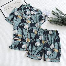 Été nouveau pyjamas femmes section mince short à manches courtes grand imprimé fleuri pyjamas service à domicile dames pyjamas pour les femmes