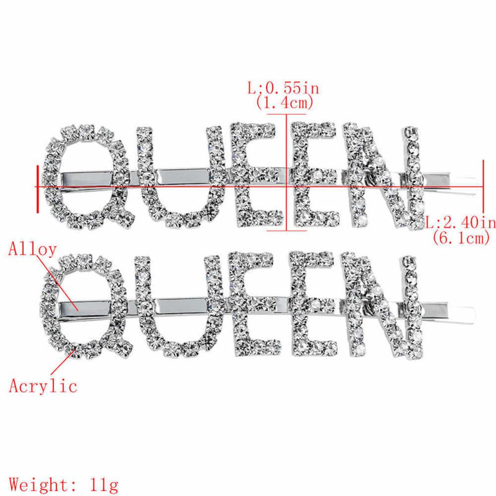 1 Pasang Temperamen Queen Jepit Rambut Kristal Berlian Imitasi Rambut Klip Logam Perak Jepit Wanita Wanita Rambut Aksesoris