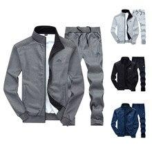 Conjunto de duas peças com zíper quente moletom jaqueta + sweatpants terno do suor dos homens jogger define moleton masculino