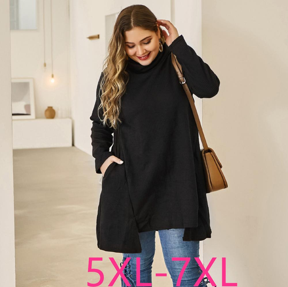 2019 Autumn Winter Plus Size Tops Pullover For Women Large Thick Loose Cotton High Collar Long Sweater Black 4XL 5XL 6XL 7XL
