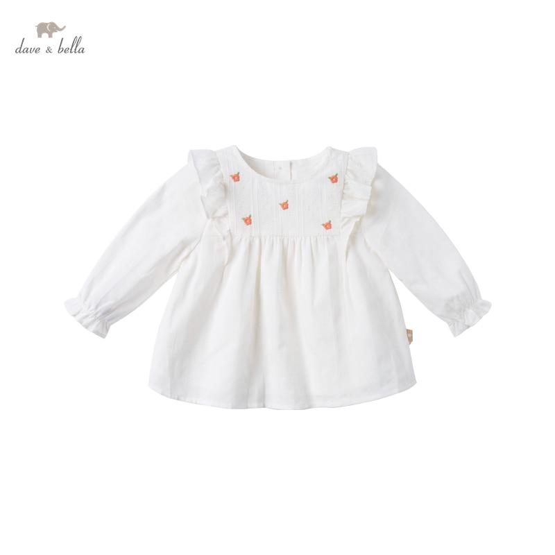DBZ17113 нижнее белье в стиле бренда dave bella/модные весенние платья для маленьких девочек с цветочной вышивкой и рюшами; Футболки для малышей; Топы для детей ясельного возраста; Детская одежда высокого качества|Блузки и рубашки| | АлиЭкспресс