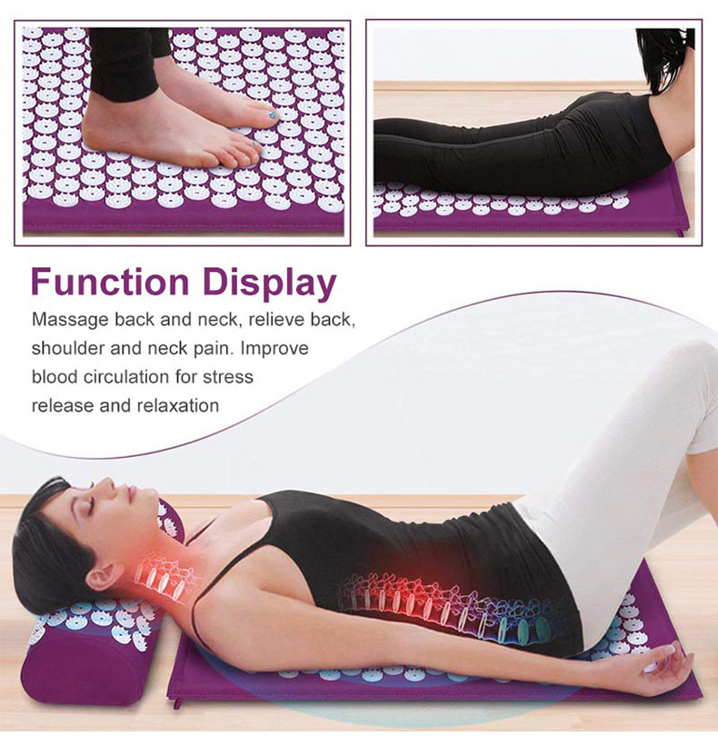 Non-Slip Acupressure Cushion Massage Mat Body Pain Spike Fitness Pilates Exercise Pillow Yoga Mat Gift Bag Applicator 14