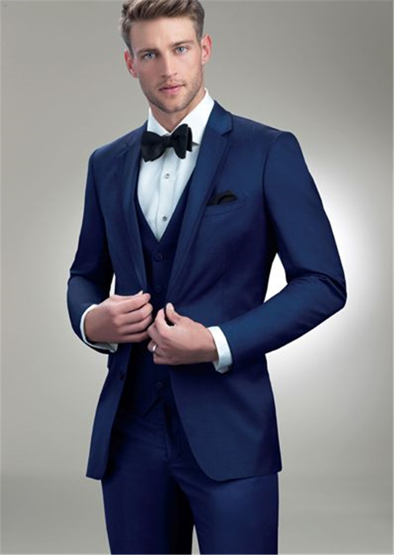 Notched Lapel Royal Blue Skinny Wedding Tuxedos 2020 Fashion Three Pieces Business Office Party Suits (Jacket+Pants+Vest)