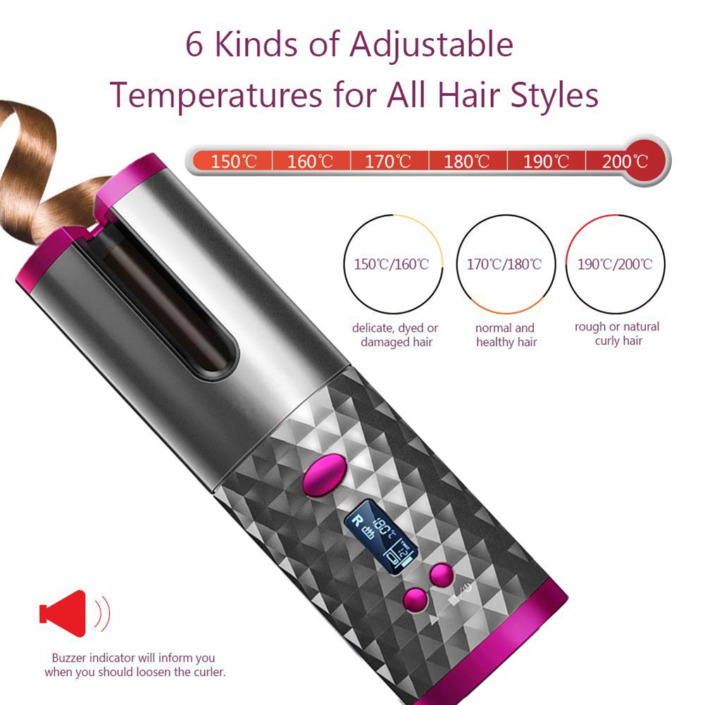 Плойка для завивки волос аккумуляторная с ЖК-дисплеем и зарядкой от USB