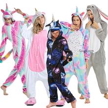 Nowe zwierząt jednorożec piżamy dorosłych zima piżamy Kigurumi Stitch Panda Pikachu piżamy kobiety Onesie Anime kostiumy kombinezon tanie tanio sumioon Poliester unicorn pajamas Unisex Cartoon Pasuje prawda na wymiar weź swój normalny rozmiar Flanelowe pijama unicornio