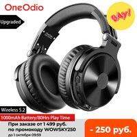 Oneodio 블루투스 무선 헤드폰 마이크 80Hrs Foldable 이상 귀 블루투스 5.2 헤드셋 휴대 전화 PC 스포츠