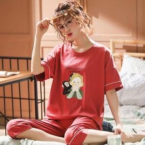 Image 4 - 女性のパジャマセット夏プラスサイズニット綿ナイトウェア女性大サイズ 5XL 半袖パジャマセットやホームウェアパジャマ